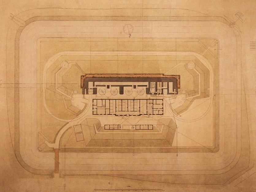 Grundplan over Kongelunds Batteri. Formentlig 1916.
