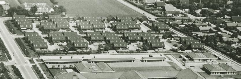 Udsnit af luftfoto ca. 1980. I forgrunden ses Nordstrandskolen.