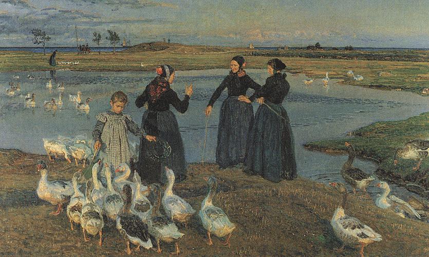 "Viggo Johansens maleri ""Naar sol gaar ned"" fra 1920 med det søndre batteri i baggrunden. Billedet tilhører SMK."