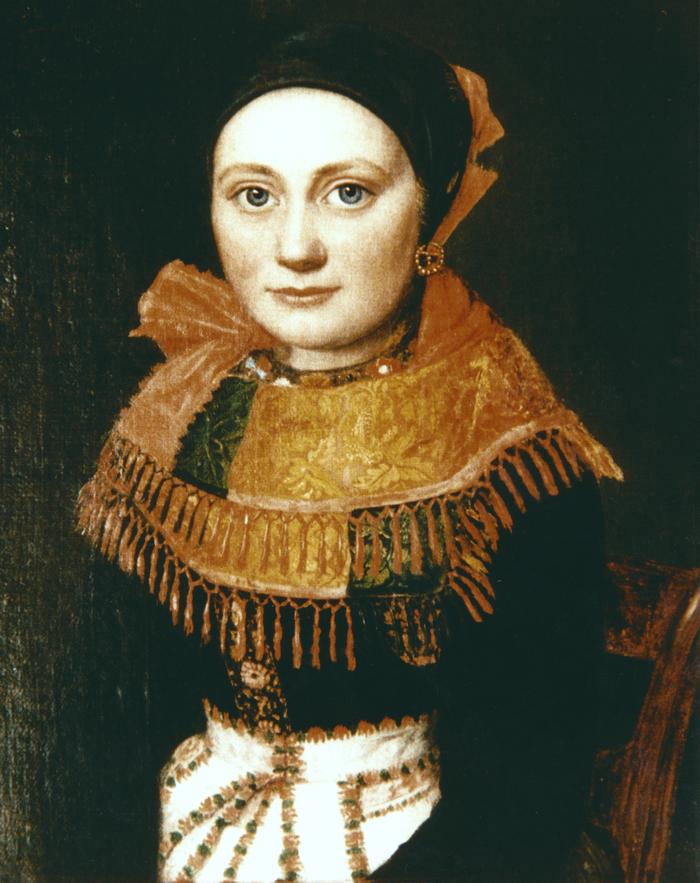 Leise Jeppesen - kaldet Elise - som Elisenborg er opkaldt efter. Maleri udført af C. F. Fiebig, 1842. (Privateje).