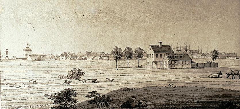 Elisenborg set fra vest med Dragør i baggrunden. Tegning udført af H. G. F. Holm, 1834 (Privateje)