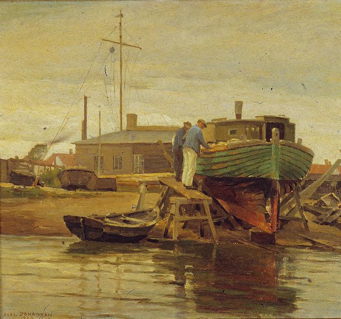 Axels Johansens maleri af en lodsbåd på bedding ved bådeværftet fra 1920. Billedet tilhører Dragør Kommune.