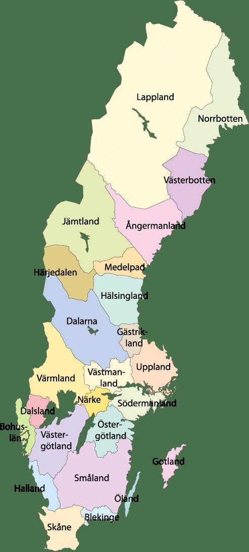 Karta över Sveriges landskap