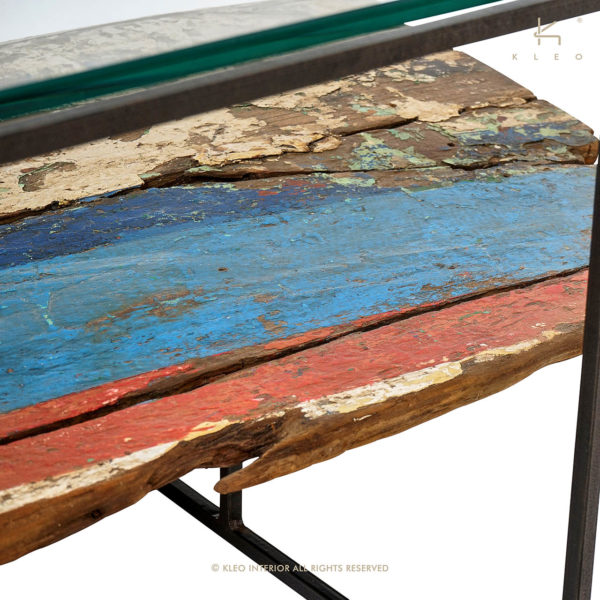 KLEO Glazen Salon Tafel van boatwood