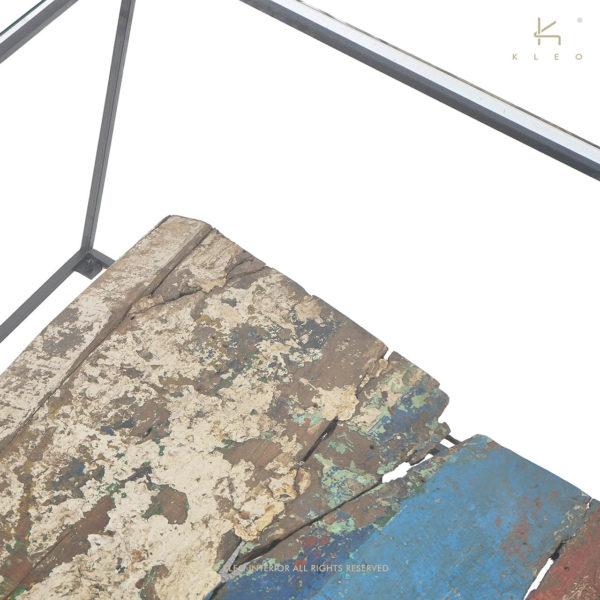 KLEO Glazen Salon Tafel met Boatwood