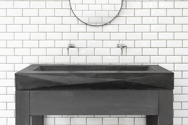 Diamant vorm betonnen wasbak donker grijs