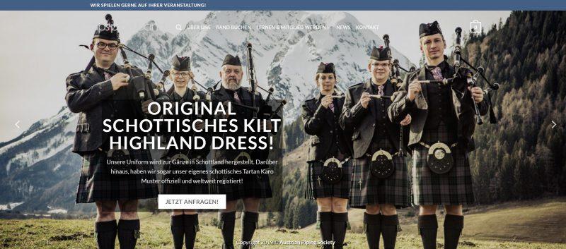 Screenshot Dudelsackband Website