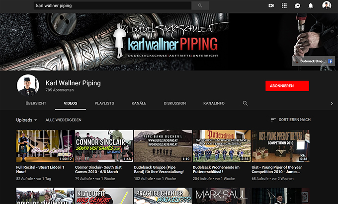 Karl Wallner Piping Youtube Blog