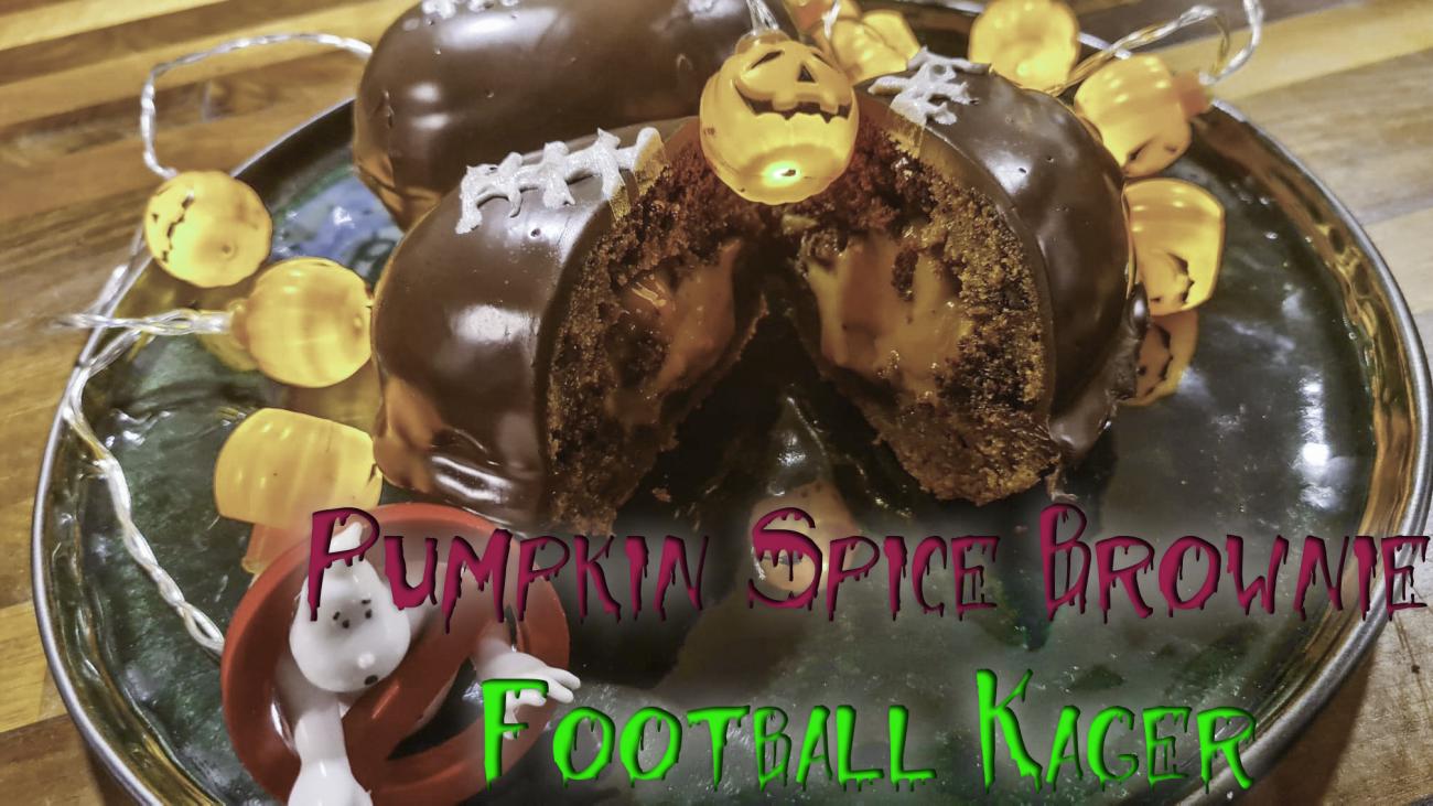 Pumpkin Spice Brownie Football Kager