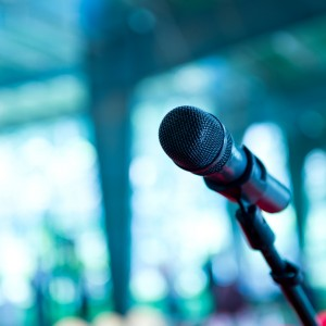 Close up of microphone in conference room.