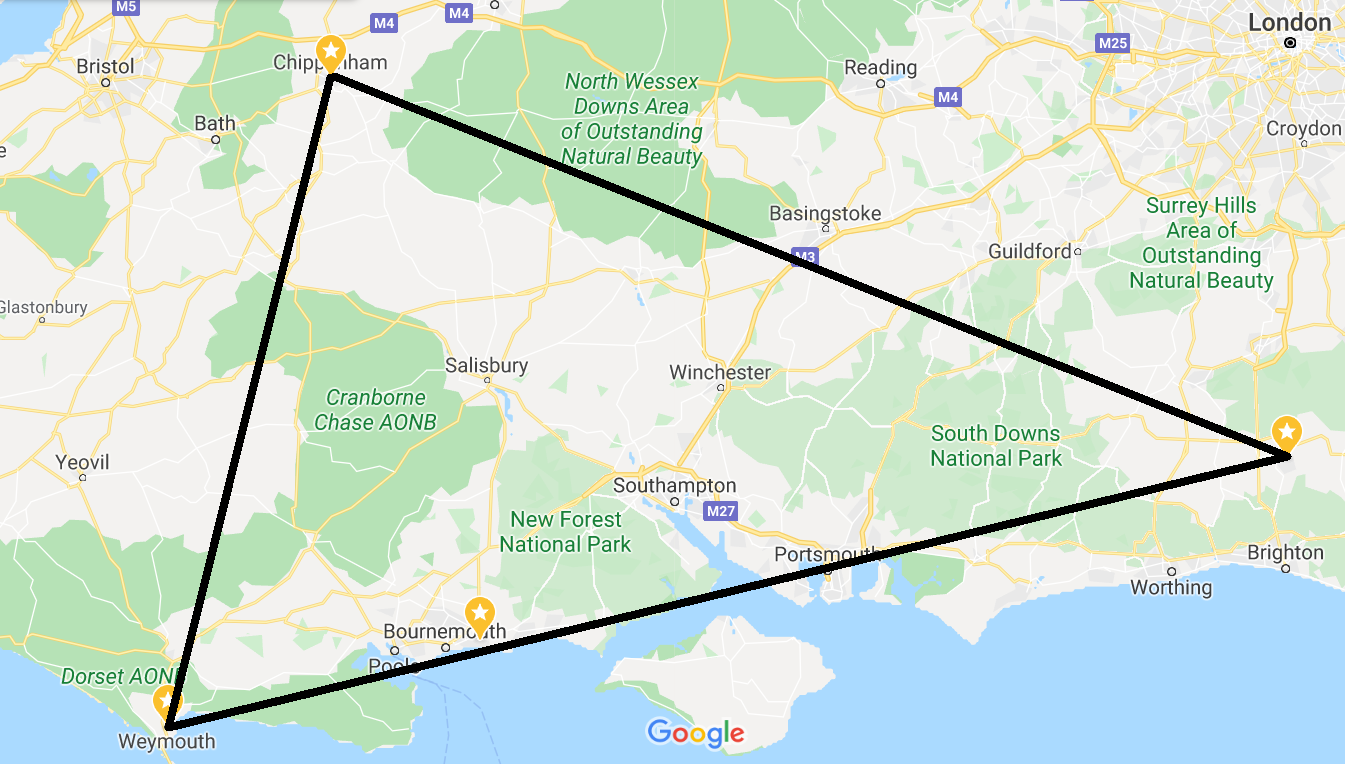 map linking our three suppliers