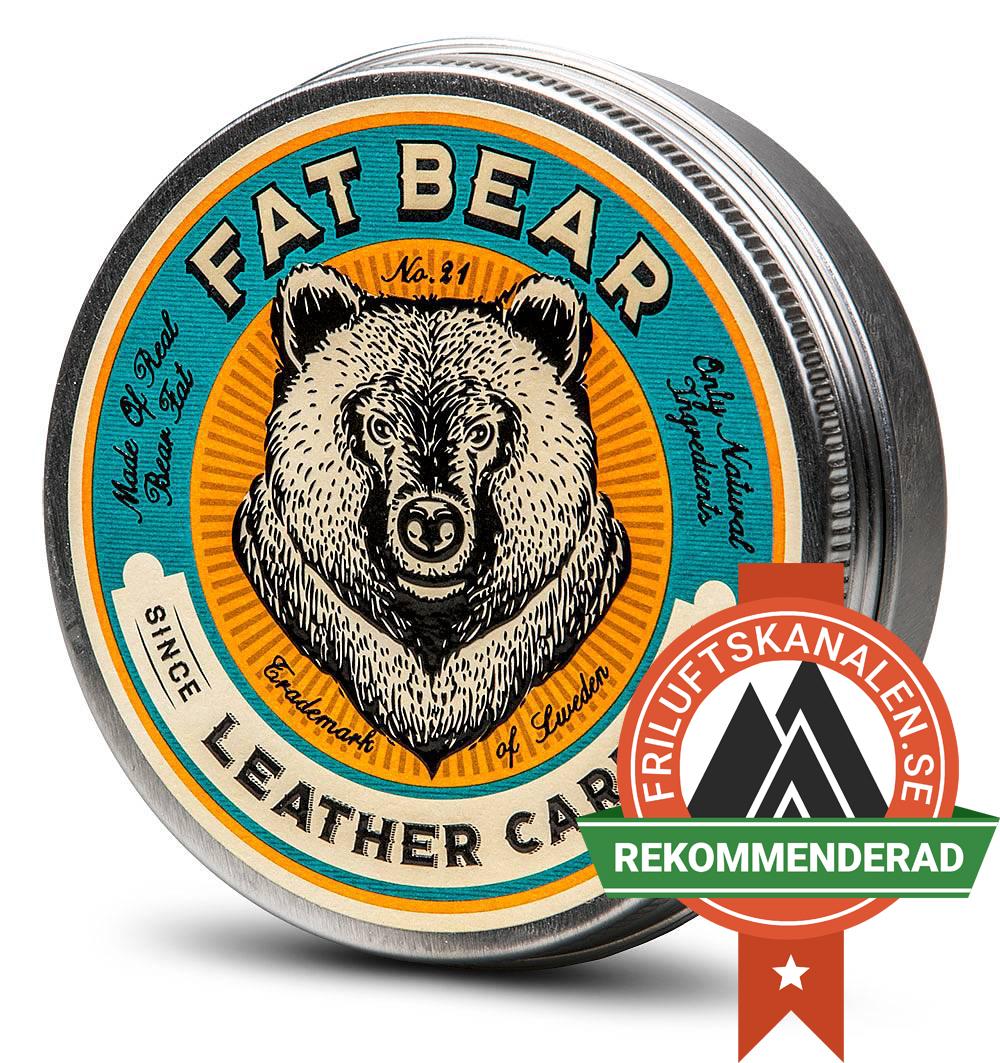 Fat Bear Leathercare med Friluftskanalens emblem