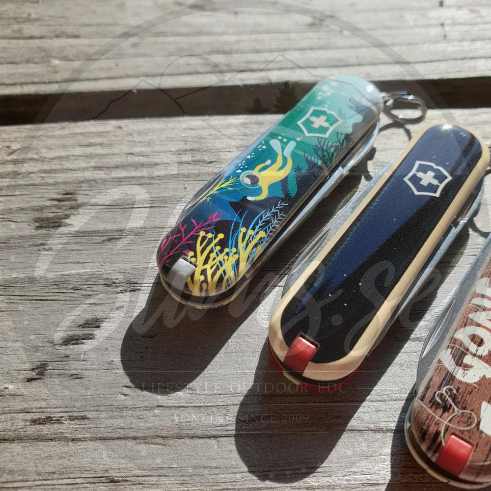 Får man bara välja en, så hade jag tagit dessa två! =) Victorinox Classic Deep Dive och Skateboarding Bild: Slims.se