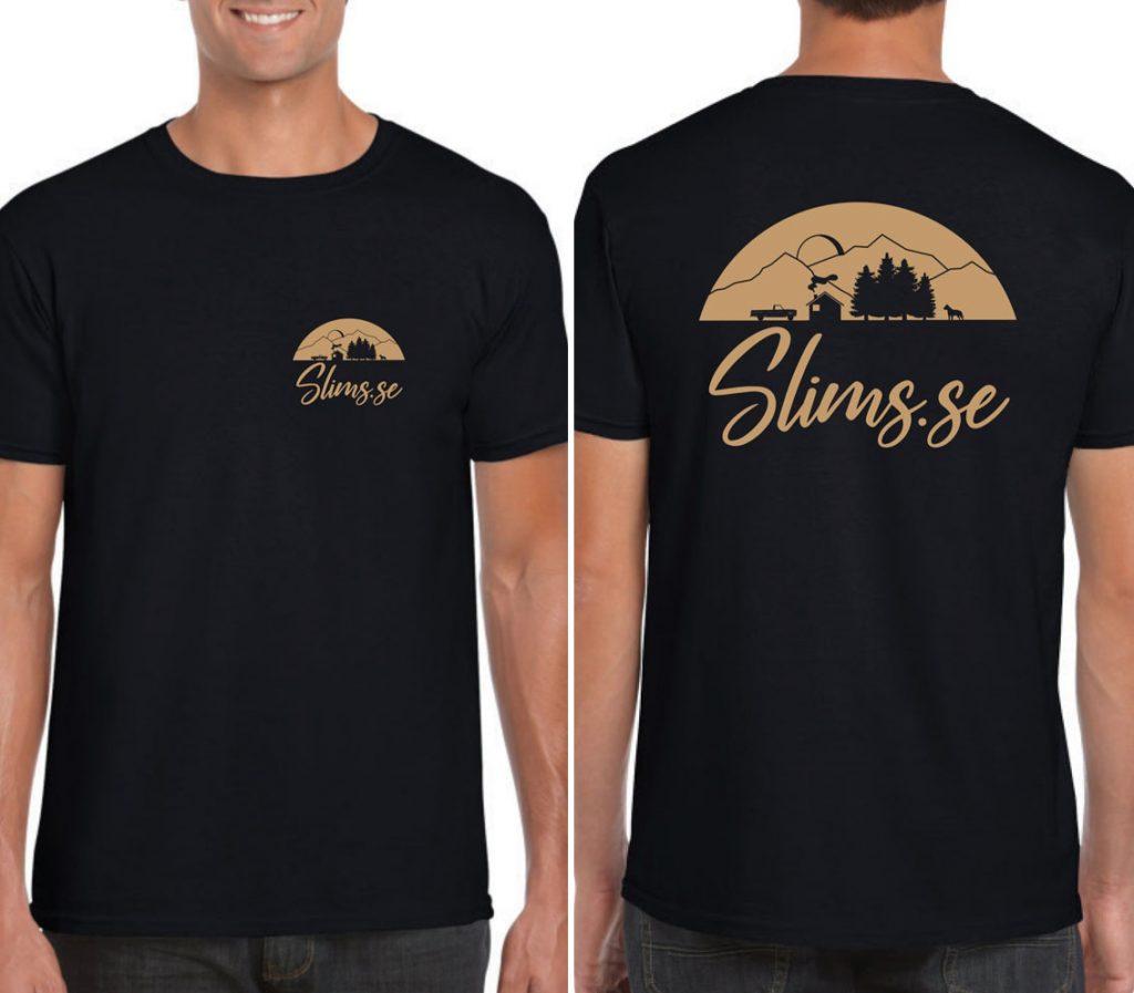 Fram och baksidan av Slims.se-t-shirten som kommer i slutet av oktober!