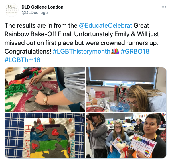 Copy of a tweet from DLD College, London