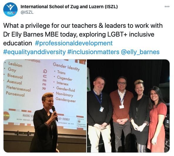 A tweet from International school of Zug and Luzern