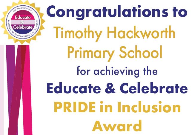 Timothy Hackworth Primary School Pride in Inclusion Gold award certificate