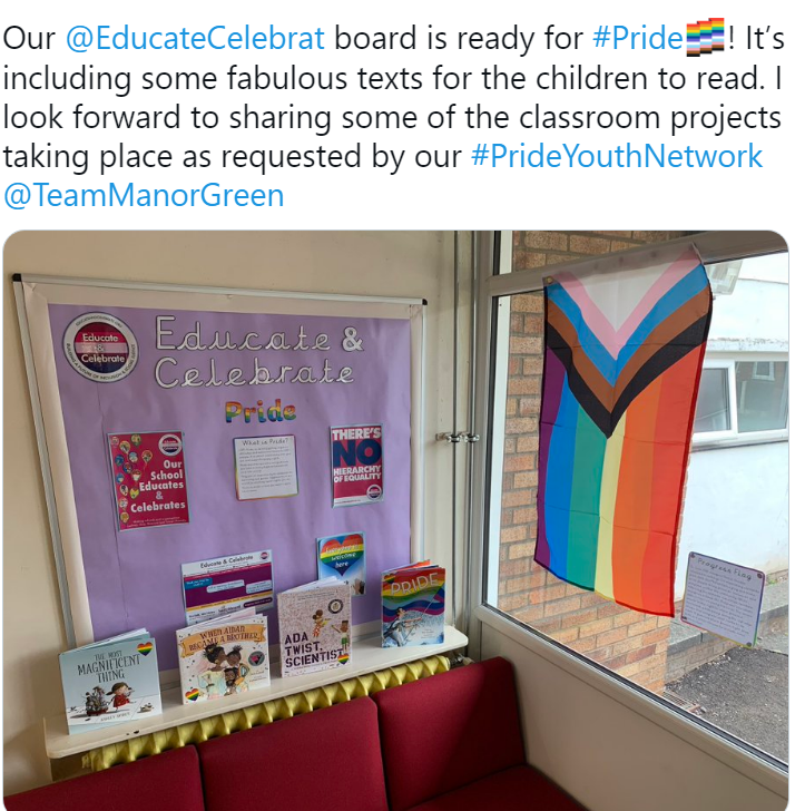 Copy of a tweet from Manor Green Primary school