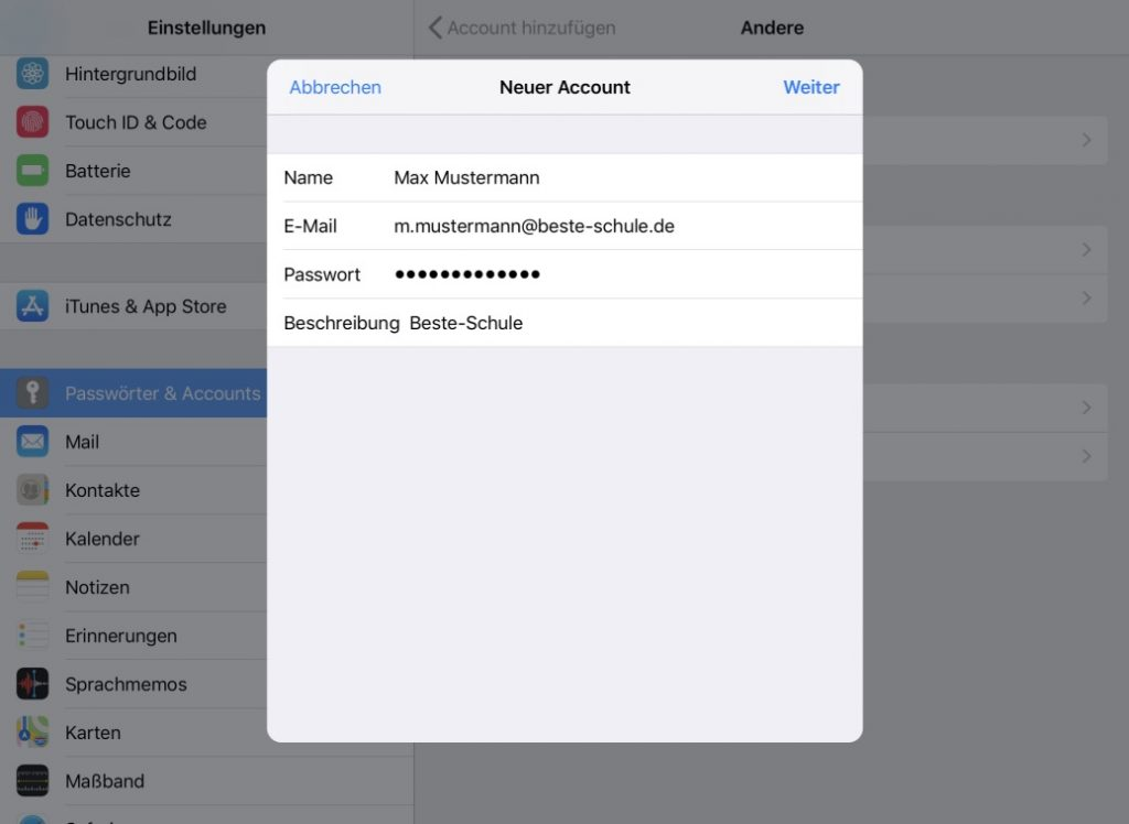 Logineo Mail auf dem iPhone einrichten