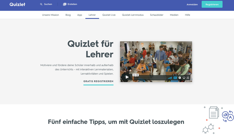 Quiz im Unterricht: Quizlet