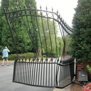 Damaged electric gates needing repair