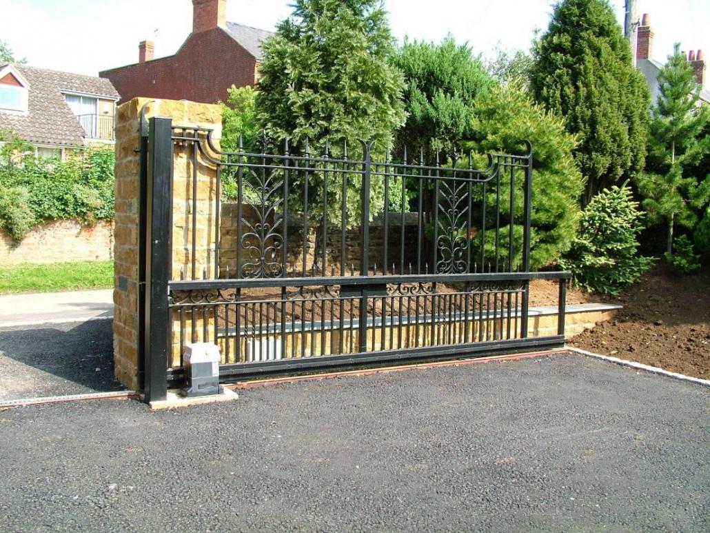 Sliding gate in open position