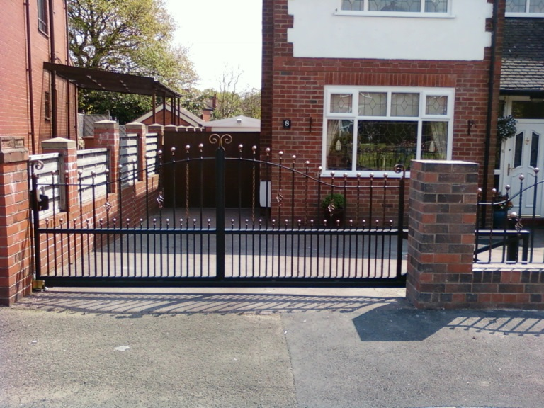 Wrought iron driveway gate