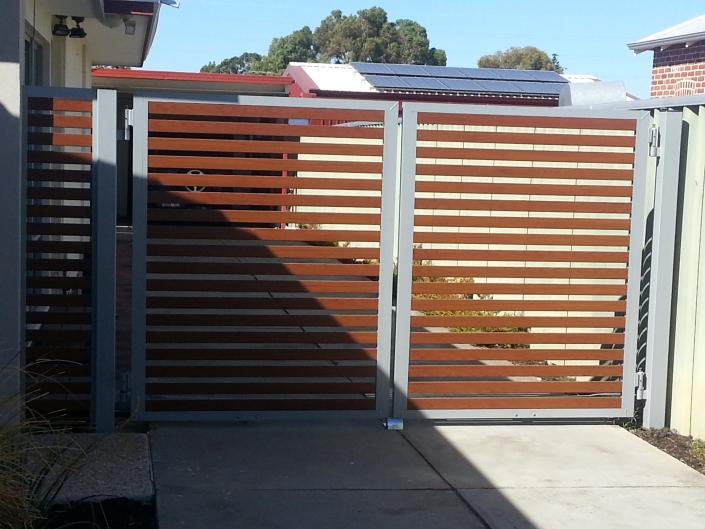 Modern metal framed wooden gates