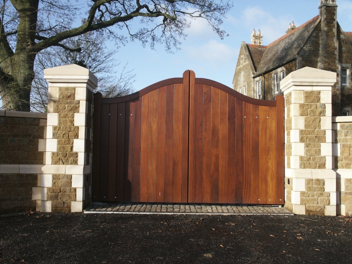 Curved top wooden driveway gates