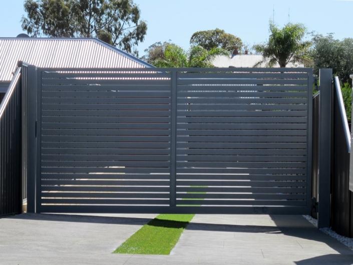Grey driveway gates