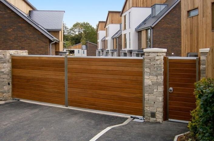 Metal framed wooden sliding gate