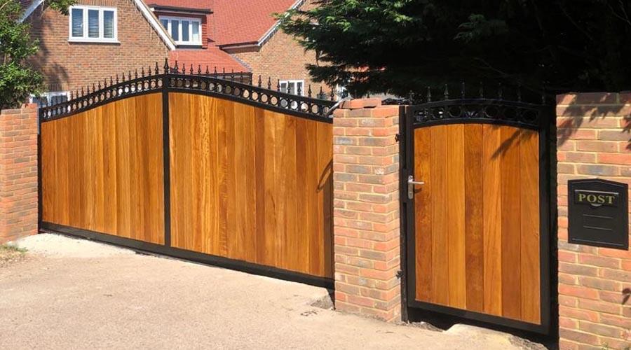 Wooden driveway electric gates