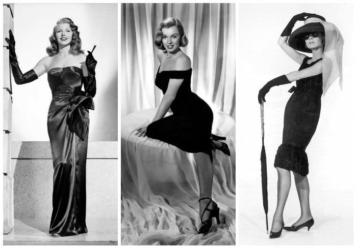 Rita Hayworth 1940s, Marlylin Monroe 1950s, Audrey hepburn 1960s