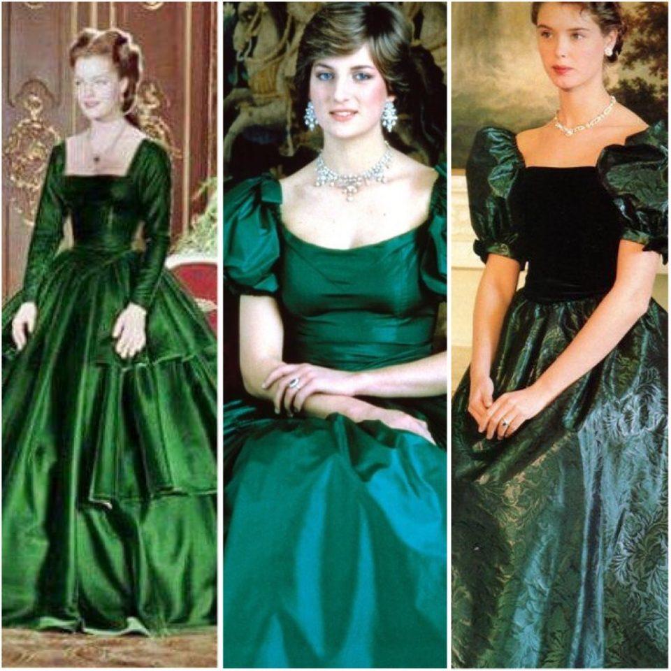 Romy Schneider nei panni di Sissi, Lady Diana e un modello anni '80 di Laura Ashley