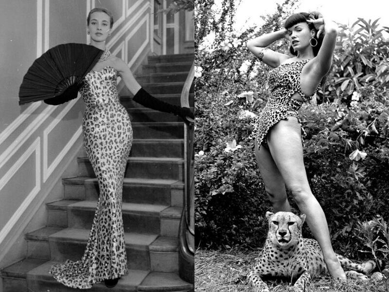 una modella di dior e betty page in stampa leopardo
