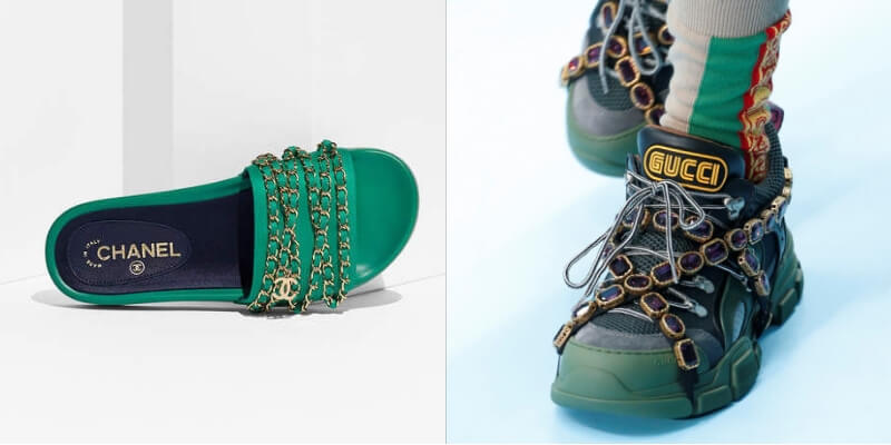 slide di chanel e sneakers gucci fw2018