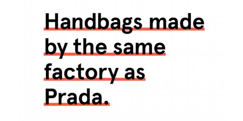 il claim di italic che propone borse fatte dalle stesse aziende di prada