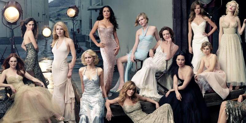 un gruppo di attrici con abiti d'alta moda ritratta da Anne Leibovitz