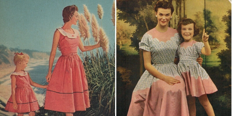 Due look coordinati mamma e figlia risalenti agli anni '50