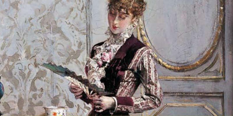 Dipinto di giovanni boldini - Berthé che legge la dedica sul ventagliocon