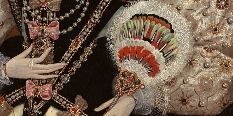 Un dettaglio da un ritratto di elisabetta 1 d'inghilterra che mostra un prezioso ventaglio di piume