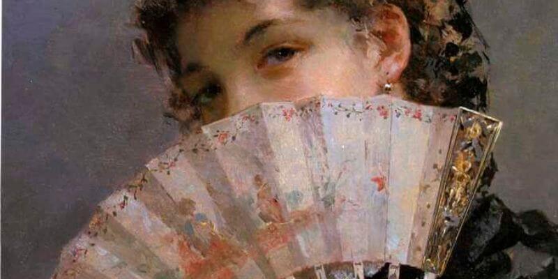 una ragazza nasconde il viso dietro a un ventaglio in un quadro ottocentesco