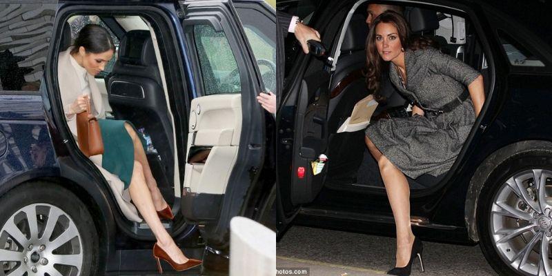 Kate Middletone Meghan Markle scendono dalla macchina in maniera impeccabile
