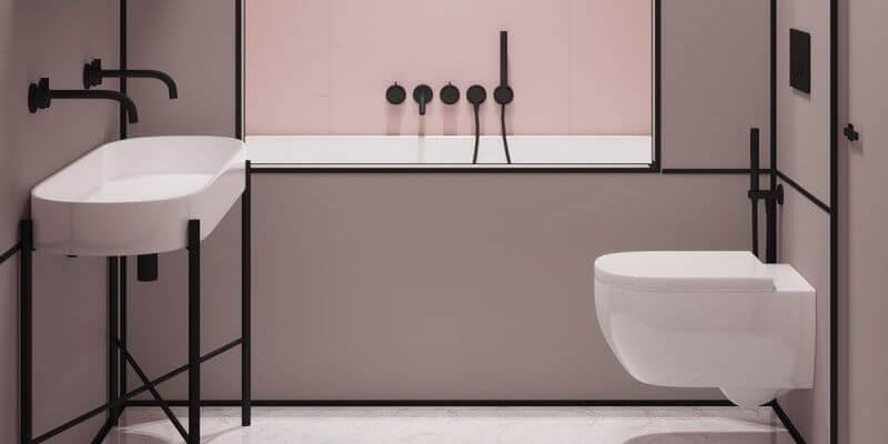 un bagno di design rosa e nero