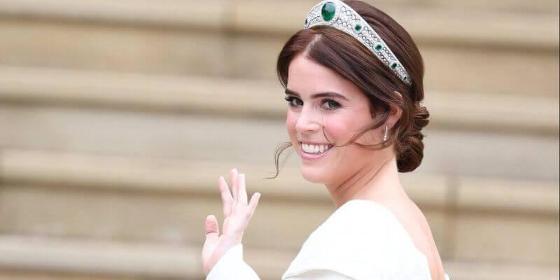la principessa eugienie con la tiara di smeraldi nel giorno del suo matrimonio