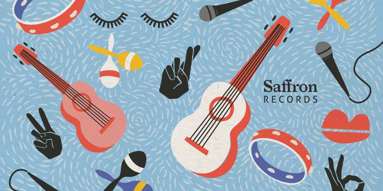 Graphic illustration featuring music instruments such as guitars, microphones, tambourine as well as lips and eyelashes
