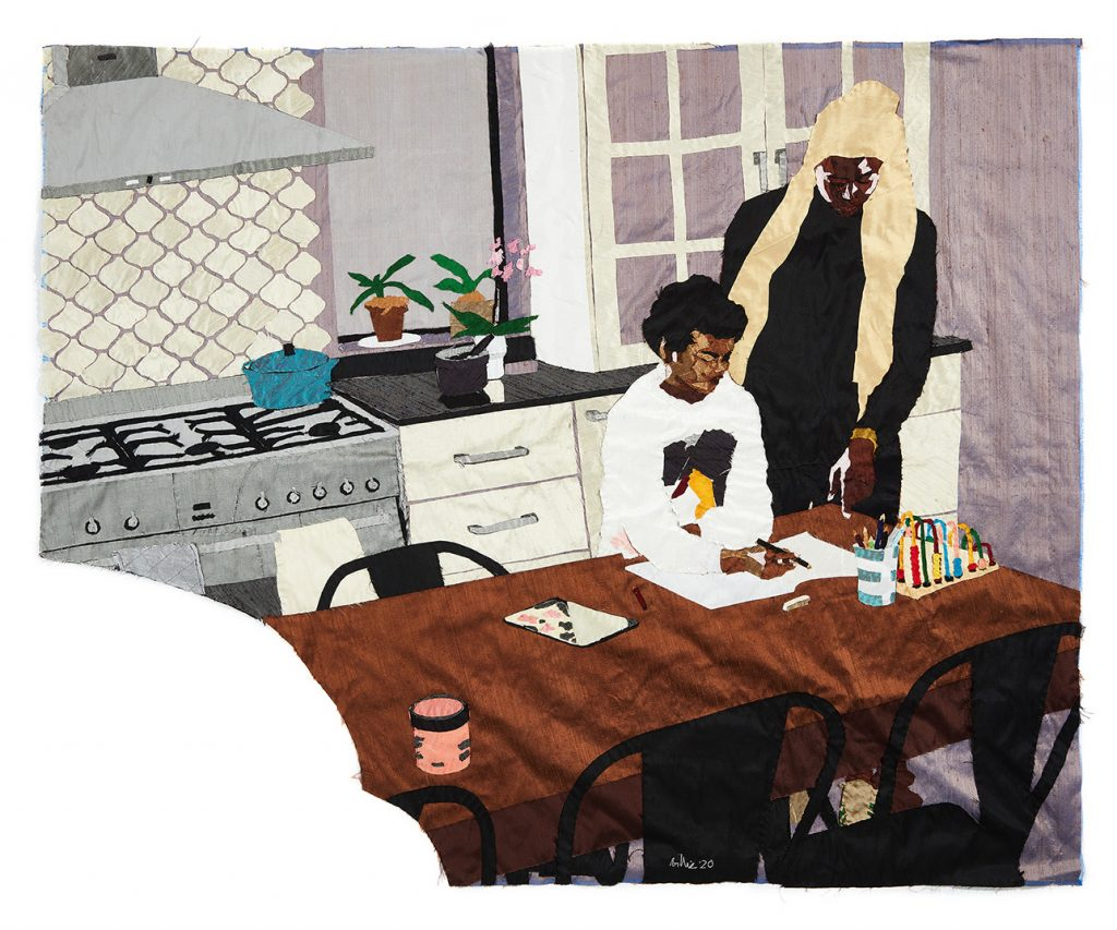 Billie Zangewa artwork titled 'Heart of the Home', which depicts her home schooling her Black son at a table in the kitchen
