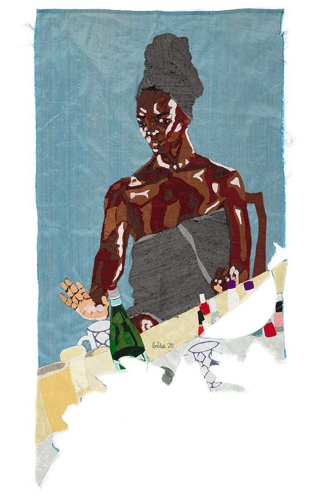 Billie Zangewa artwork titled 'Self Care Sunday', which depicts a Black woman wrapped around with a towel and a towel around her hair while sat at a table full of nail products