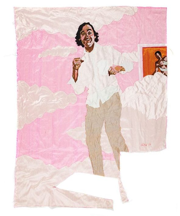 Billie Zangewa artwork tribute to her late friend Henri Vergon, which depicts him dancing in a pink sky surrounded by clouds