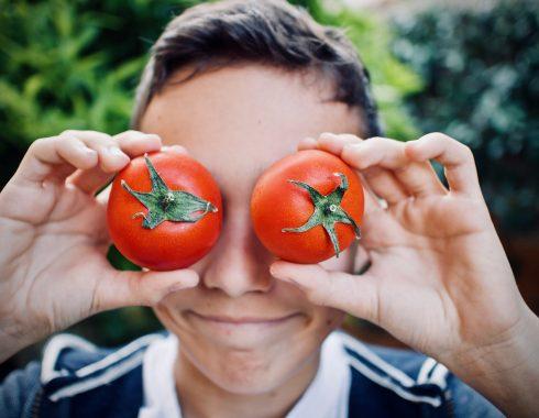 Teenage boy and tomatoes